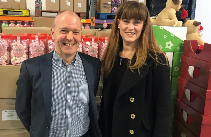 Kelly visiting Hancock's Cash and Carry