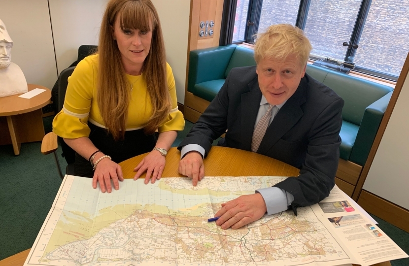 Kelly discussing local issues with Boris Johnson